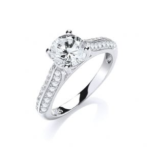 J-JAZ Micro Pave' Solitaire Cz Ring